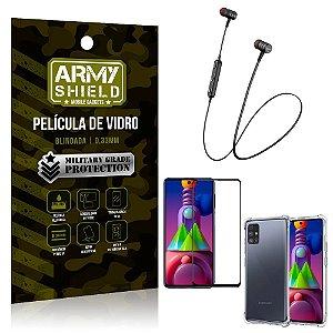Fone Bluetooth HS-615 Samsung M51 + Capinha Anti Impacto + Película 3D - Armyshield