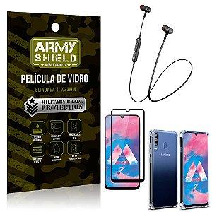 Fone Bluetooth HS-615 Samsung M30 + Capinha Anti Impacto + Película 3D - Armyshield