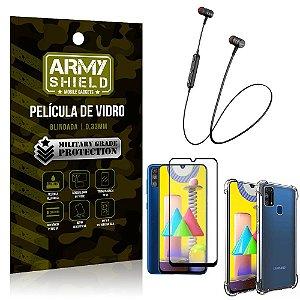 Fone Bluetooth HS-615 Samsung M31 + Capinha Anti Impacto + Película 3D - Armyshield