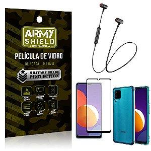 Fone Bluetooth HS-615 Samsung M12 + Capinha Anti Impacto + Película 3D - Armyshield