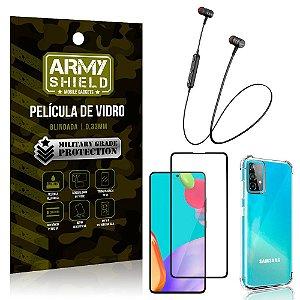 Fone Bluetooth HS-615 Samsung A52 + Capinha Anti Impacto + Película 3D - Armyshield