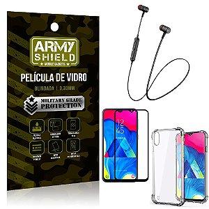 Fone Bluetooth HS-615 Samsung M10 + Capinha Anti Impacto + Película 3D - Armyshield