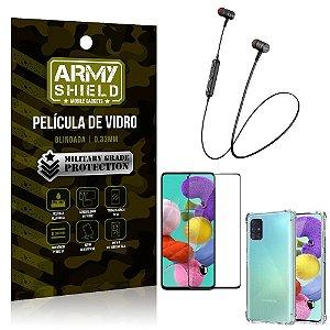 Fone Bluetooth HS-615 Samsung A51 + Capinha Anti Impacto + Película 3D - Armyshield