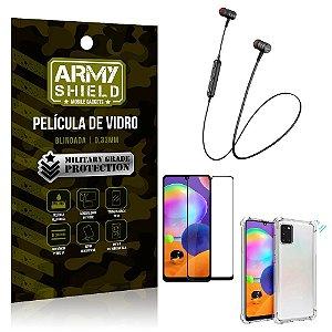 Fone Bluetooth HS-615 Samsung A31 + Capinha Anti Impacto + Película 3D - Armyshield
