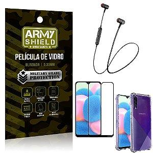 Fone Bluetooth HS-615 Samsung A30S + Capinha Anti Impacto + Película 3D - Armyshield