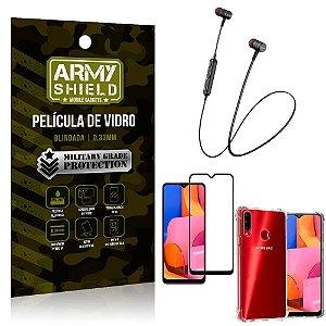 Fone Bluetooth HS-615 Samsung A20S + Capinha Anti Impacto + Película 3D - Armyshield