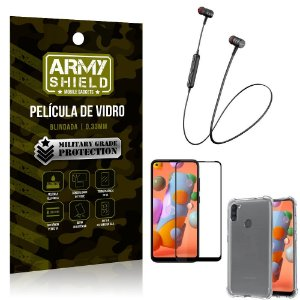 Fone Bluetooth HS-615 Samsung A11 + Capinha Anti Impacto + Pelicula 3D - Armyshield