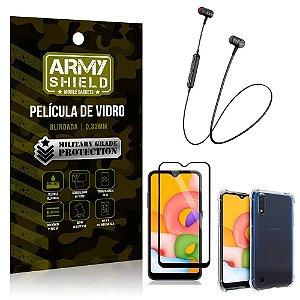 Fone Bluetooth HS-615 Samsung A01 + Capinha Anti Impacto + Pelicula 3D - Armyshield