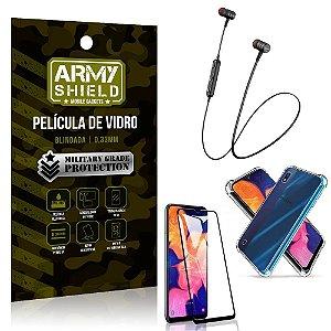 Fone Bluetooth HS-615 Samsung A10 + Capinha Anti Impacto + Pelicula 3D - Armyshield