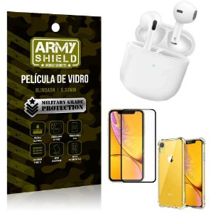 Fone Bluetooth LY-113 iPhone XR 6.1 + Capinha Anti Impacto + Película 3D - Armyshield