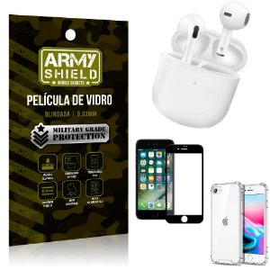 Fone Bluetooth LY-113 iPhone SE 2020 + Capinha Anti Impacto + Película 3D - Armyshield
