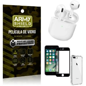 Fone Bluetooth LY-113 iPhone 8 Plus + Capinha Anti Impacto + Película 3D - Armyshield
