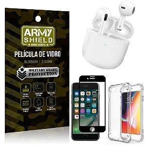 Fone Bluetooth LY-113 iPhone 7 + Capinha Anti Impacto + Película 3D - Armyshield