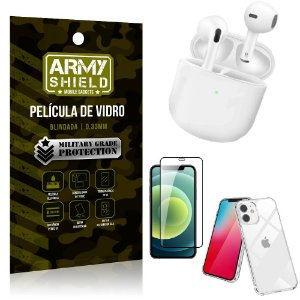 Fone Bluetooth LY-113 iPhone 12 Mini 5.4 + Capinha Anti Impacto + Película 3D - Armyshield
