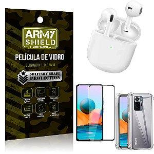 Fone Bluetooth LY-113 Redmi Note 10 Pro + Capinha Anti Impacto + Película 3D - Armyshield