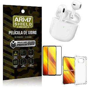 Fone Bluetooth LY-113 Poco X3 + Capinha Anti Impacto + Película 3D - Armyshield