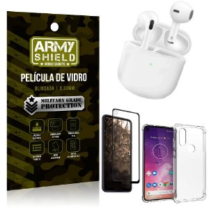 Fone Bluetooth LY-113 Moto One Vision + Capinha Anti Impacto + Película 3D - Armyshield