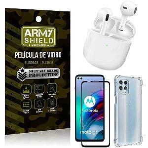 Fone Bluetooth LY-113 Moto G100 5G + Capinha Anti Impacto + Película 3D - Armyshield