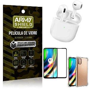Fone Bluetooth LY-113 Moto G9 Plus + Capinha Anti Impacto + Película 3D - Armyshield