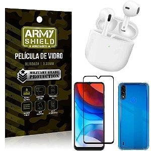 Fone Bluetooth LY-113 Moto E7 Power + Capinha Anti Impacto + Película 3D - Armyshield