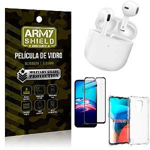 Fone Bluetooth LY-113 Moto E7 + Capinha Anti Impacto + Película 3D - Armyshield