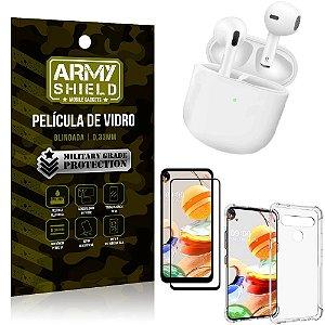 Fone Bluetooth LY-113 LG K61 + Capinha Anti Impacto + Película 3D - Armyshield