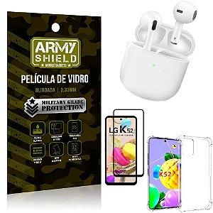 Fone Bluetooth LY-113 LG K52 + Capinha Anti Impacto + Película 3D - Armyshield