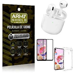 Fone Bluetooth LY-113 LG K51s + Capinha Anti Impacto + Película 3D - Armyshield