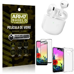 Fone Bluetooth LY-113 LG K50s + Capinha Anti Impacto + Película 3D - Armyshield