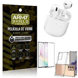 Fone Bluetooth LY-113 Samsung Note 20 Ultra + Capinha Anti Impacto + Película 3D - Armyshield
