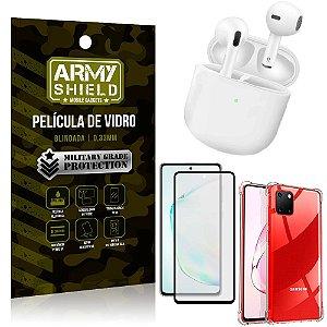 Fone Bluetooth LY-113 Samsung Note 10 Lite + Capinha Anti Impacto + Película 3D - Armyshield