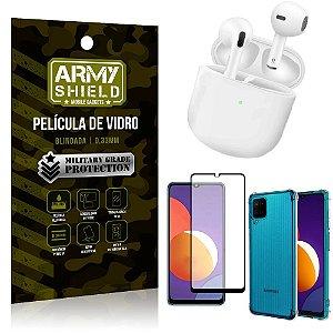 Fone Bluetooth LY-113 Samsung M12 + Capinha Anti Impacto + Película 3D - Armyshield