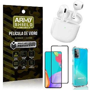 Fone Bluetooth LY-113 Samsung A52 + Capinha Anti Impacto + Película 3D - Armyshield
