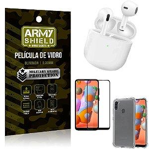 Fone Bluetooth LY-113 Samsung A11 + Capinha Anti Impacto + Pelicula 3D - Armyshield