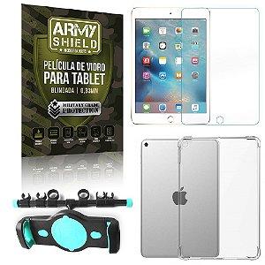 Suporte de Tablet para Carro iPad Mini 4 e 5 + Capinha Antishock + Pelicula Armyshield
