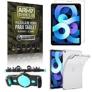 Suporte de Tablet para Carro iPad Air 10.9 2020 + Capinha Antishock + Pelicula Armyshield