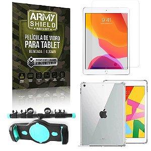 Suporte de Tablet para Carro iPad 8 10.2 + Capinha Antishock + Pelicula Armyshield