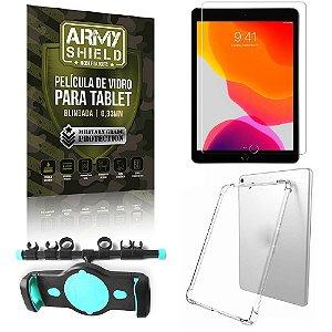 Suporte de Tablet para Carro iPad 7 10.2 + Capinha Antishock + Pelicula Armyshield