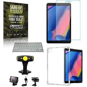 Suporte de Mesa para Tablet Samsung Tab A T290/T295 +Teclado + Capa Anti Shock + Pelicula Armyshield