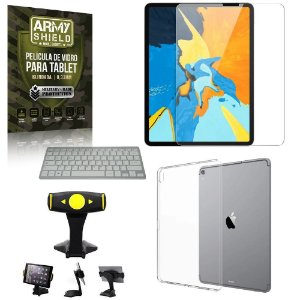 Suporte de Mesa para Tablet iPad Pro 12.9 2018 +Teclado + Capa Anti Shock + Pelicula Armyshield
