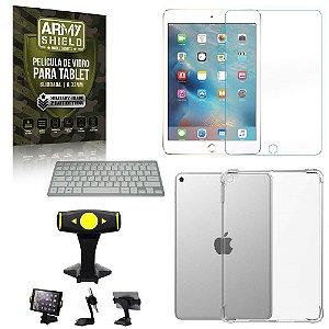 Suporte de Mesa para Tablet iPad Mini 4 e 5 +Teclado + Capa Anti Shock + Pelicula Armyshield