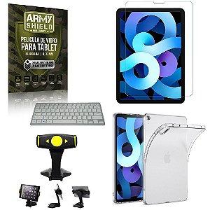 Suporte de Mesa para Tablet iPad Air 10.9 2020 +Teclado + Capa Anti Shock + Pelicula Armyshield