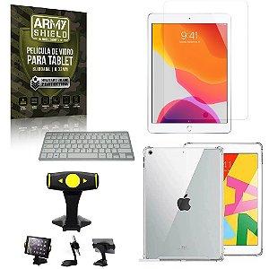 Suporte de Mesa para Tablet iPad 8 10.2 +Teclado + Capa Anti Shock + Pelicula Armyshield