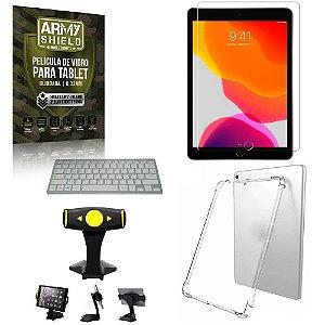 Suporte de Mesa para Tablet iPad 7 10.2 +Teclado + Capa Anti Shock + Pelicula Armyshield