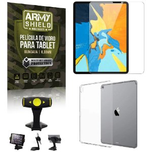 Suporte de Mesa para Tablet iPad Pro 12.9 2018 + Capinha Antishock + Pelicula Armyshield