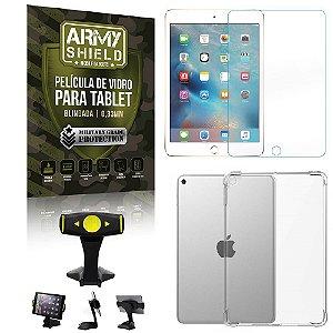 Suporte de Mesa para Tablet iPad Mini 4 e 5 + Capinha Antishock + Pelicula Armyshield