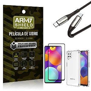 Kit Samsung M62 Cabo Usb Tipo C para Usb-C HS-167 + Capa Anti Impacto +Película Vidro 3D -Armyshield