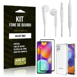 Kit Samsung M62 Fone de Ouvido + Capa Anti Impacto + Película Vidro 3D - Armyshield