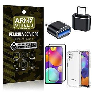 Kit Samsung M62 Adaptador OTG Tipo C para USB + Capa Anti Impacto + Película 3D - Armyshield