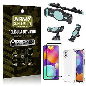 Kit Samsung M62 Suporte Veicular 3 em 1 + Película 3D + Capa Anti Impacto - Armyshield